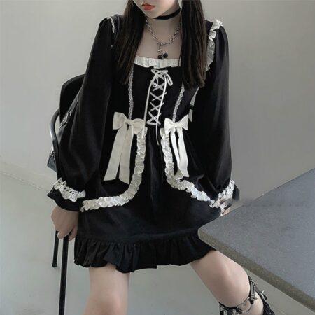 Japanese Lolita Gothic Dress Girl Patchwork Vintage Designer Mini Dress Japan Style Kawaii Clothes Fall Dresses for Women 2020