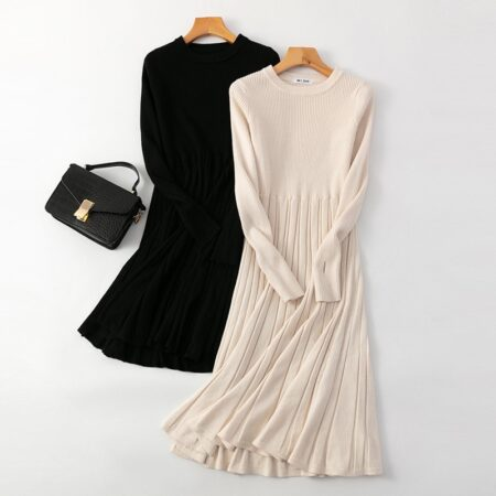 HLBCBG Chic Women Long Knit Maxi Sweater Dress Autumn Winter Knitted A Line Dress Ribbed Thick Christmas Pullover Party Dresses