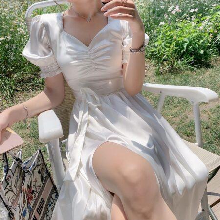 Elegant Ruffle Dress Women French Sexy Split Dress Office Lady Casual Puff Sleeve Designer Party Dress New 2020 Women's Autumn