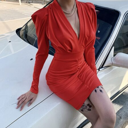 2020 Autumn Dress Women Casual Long Full Sleeved Sexy Deep V-neck Folds Solid Straight Dresses