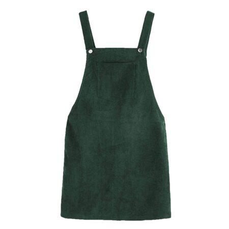 2020 Autumn Winter Women Casual Sleeveless Pocket Retro Corduroy Dress Female Vintage Party Dress Loose Suspender Sundress