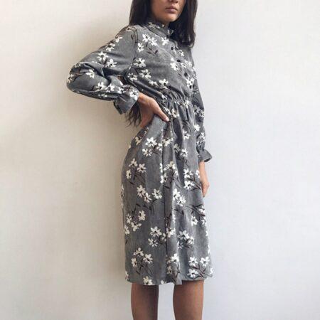 2020 Autumn Winter Women Corduroy Dresses Casual Long Sleeve High Elastic Waist Flower Print Party Dress Female Dress Vestidos